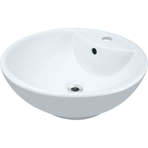 "Polaris 18 1/8"" Porcelain Round Bathroom Vessel Sink - White P2072VW"