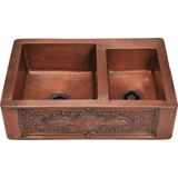 "Polaris 33"" Offset Double Bowl Copper Farmhouse Sink P119"