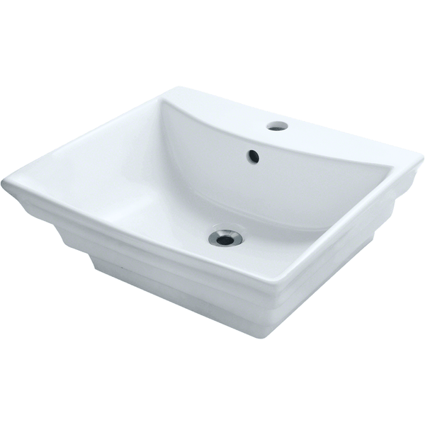 "Polaris 19 7/8""  3-Tiered Porcelain Rectangular Bathroom Vessel Sink - White P061VW"
