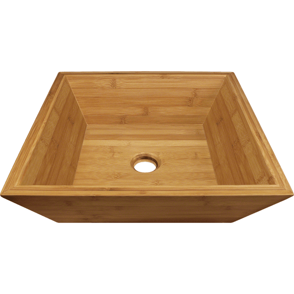 "Polaris 16 1/8"" Bamboo Square Bathroom Vessel Sink P198"
