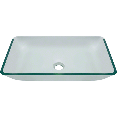"Polaris 22 3/8"" Colored Glass Rectangular Bathroom Vessel Sink - Clear P046CR"