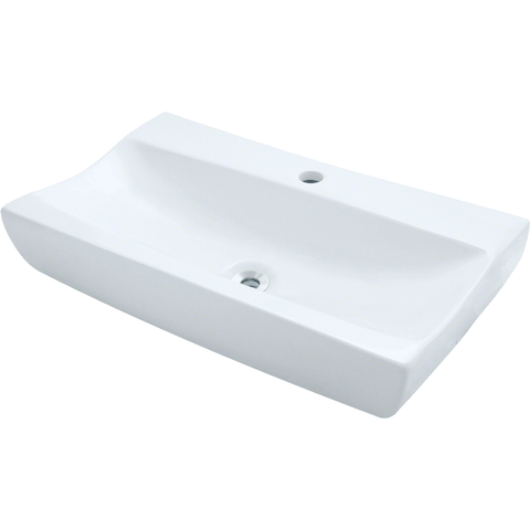"Polaris 25 1/4"" Porcelain Rectangular Bathroom Vessel Sink - White P032VW"