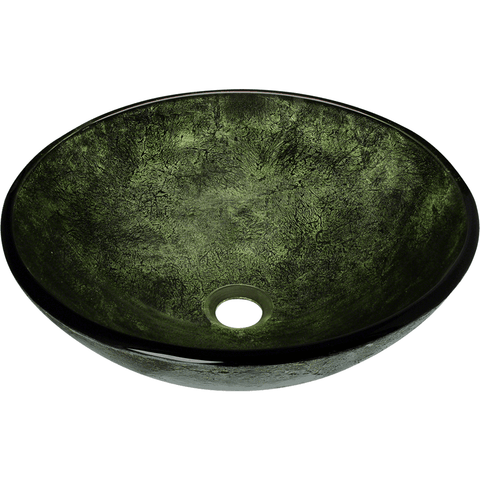 "Polaris 16 1/2"" Forest Green Glass Round Bathroom Vessel Sink P926"