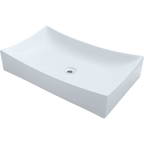 "Polaris 25 1/2"" Porcelain Rectangular Bathroom Vessel Sink - White P033VW"