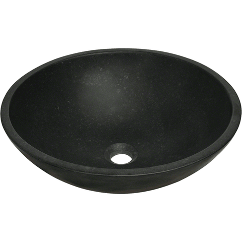 "Polaris 16 1/2"" Honed Basalt Black Granite Round Bathroom Vessel Sink P458"