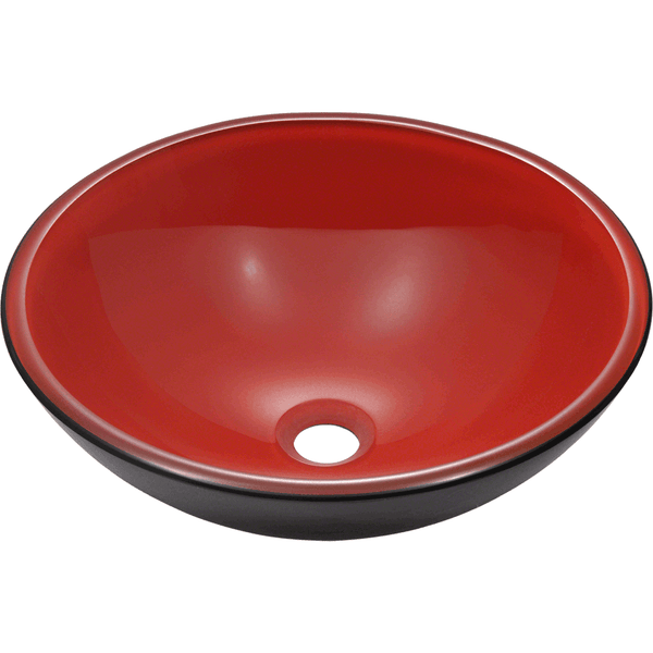 "Polaris 16 1/2"" Double Layer Glass Round Bathroom Vessel Sink - Red and Black P606"