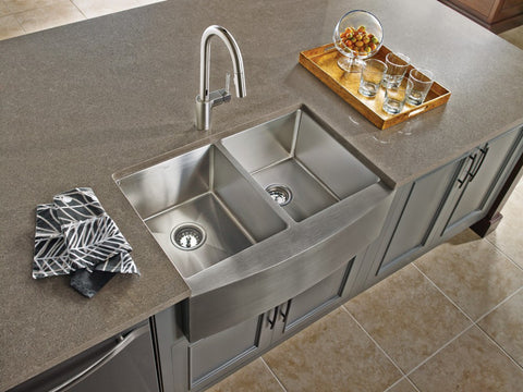 Stainless Farmhouse Sink 30 18 Gauge Double Bowl Moen 1800