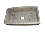 "Stone Farmhouse Sink, 36"", Perlina Limestone, Single Bowl, Floral Pattern, Allstone Group, F362010SB-F2-PL"