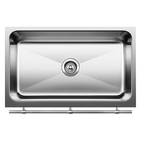 "Blanco Magnum 30"" Large Single Bowl Sink with Apron and Stainless Steel Towel Bar, 440294 - Showroom Sinks"