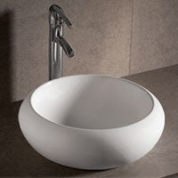 "Whitehaus 17 3/4"" White Ceramic Round Bathroom Vessel Sink - WHKN1090"
