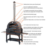 Tuscan Chef Deluxe Family Wood Fired Pizza Oven With Cart - GX-B1 - Real Pizza Ovens