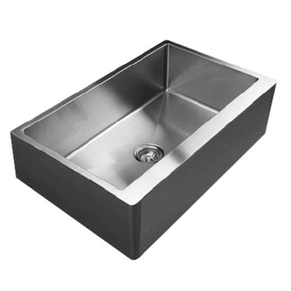 "Ukinox 33"" Single Bowl Stainless Steel Farmhouse Kitchen Sink - RSFS 840"