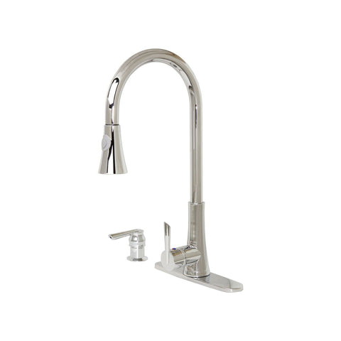 "Dyconn Mediterranean - 18"" Modern Kitchen Pull-Down Faucet With Soap Dispenser - Polished Chrome TB001-A18"