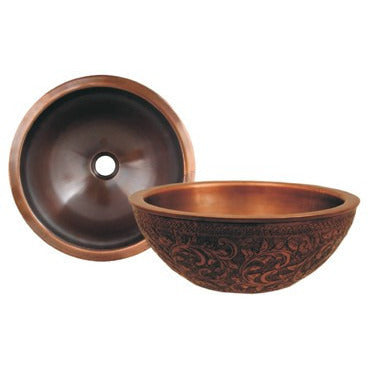 "Whitehaus 14"" Copperhaus Round Bathroom Vessel Sink with Floral Design - WH1414FLLAV-OCS"