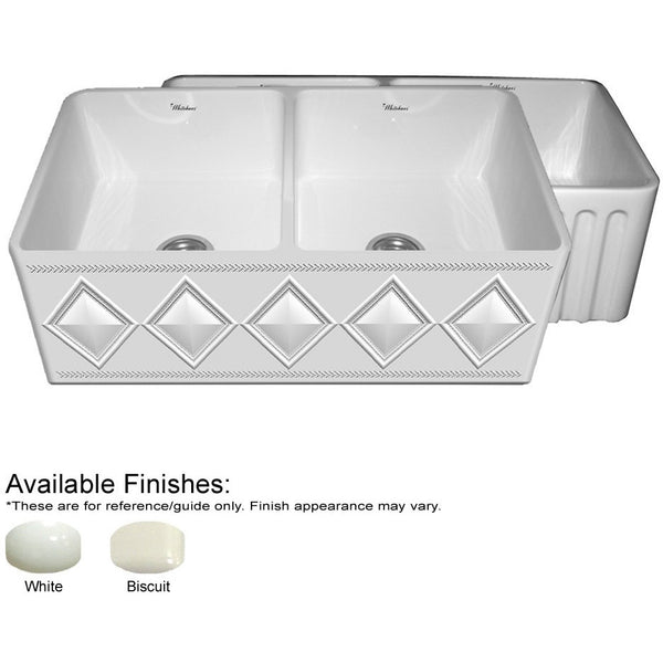 "33"" Fireclay Farmhouse Sink, Double Bowl, Reversible - Diamond Pattern Or Fluted, Whitehaus Diamondhaus, WHFLDI3318 - Showroom Sinks"