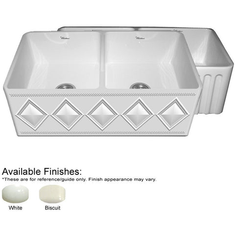 "Whitehaus 33"" Double Bowl Fireclay Sink With A Diamond Design - White WHFLDI3318"