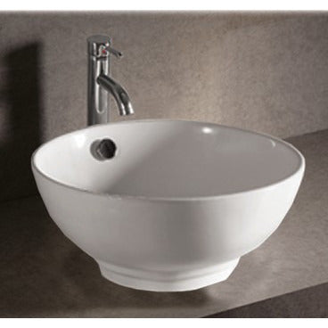 "Whitehaus 16 7/8"" White Ceramic Round Bathroom Vessel Sink - WHKN1051"