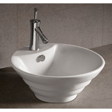 "Whitehaus 18"" White Ceramic Round Bathroom Vessel Sink - WHKN1054"