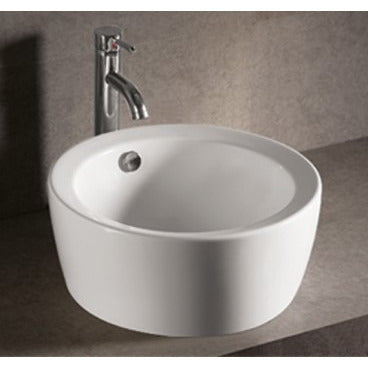 "Whitehaus 18"" White Ceramic Round Bathroom Vessel Sink - WHKN1055"