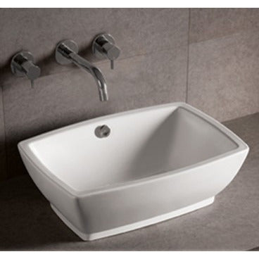 "Whitehaus 21 5/8"" White Ceramic Rectangular Bathroom Vessel Sink - WHKN1065"