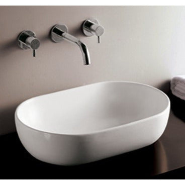 "Whitehaus 23 1/4"" White Ceramic Oval Bathroom Vessel Sink - WHKN1080"