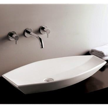 "Whitehaus 31 1/2"" White Ceramic Oval Bathroom Vessel Sink - WHKN1086"