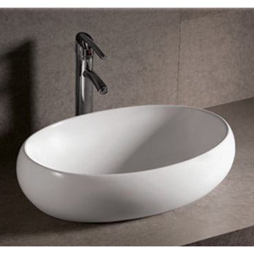 "Whitehaus 23 1/4"" White Ceramic Oval Bathroom Vessel Sink - WHKN1091"