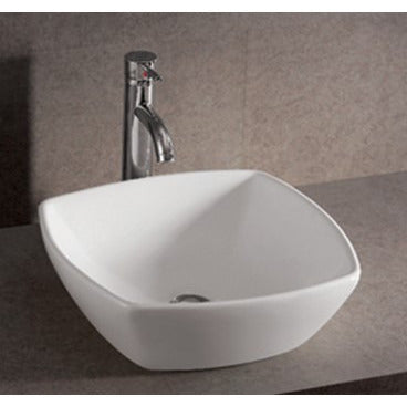 "Ceramic Vessel Sink, 16 1/2"", White, Square, Whitehaus, WHKN4019 - Showroom Sinks"