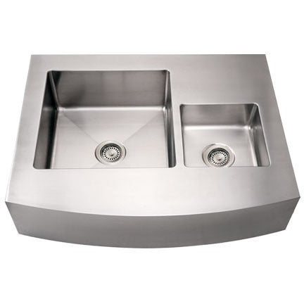 "Whitehaus 36"" Stainless Steel Double Basin Apron Arch Kitchen Sink WHNCMDAP3629"