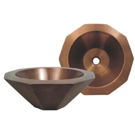 "Whitehaus 16 1/4"" Copper Decagon Shaped Bathroom Vessel Sink - Smooth Copper WHOCTDWV16-OCS"