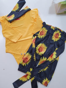 Flutter sleeve romper and sunflower pants - 3 piece set