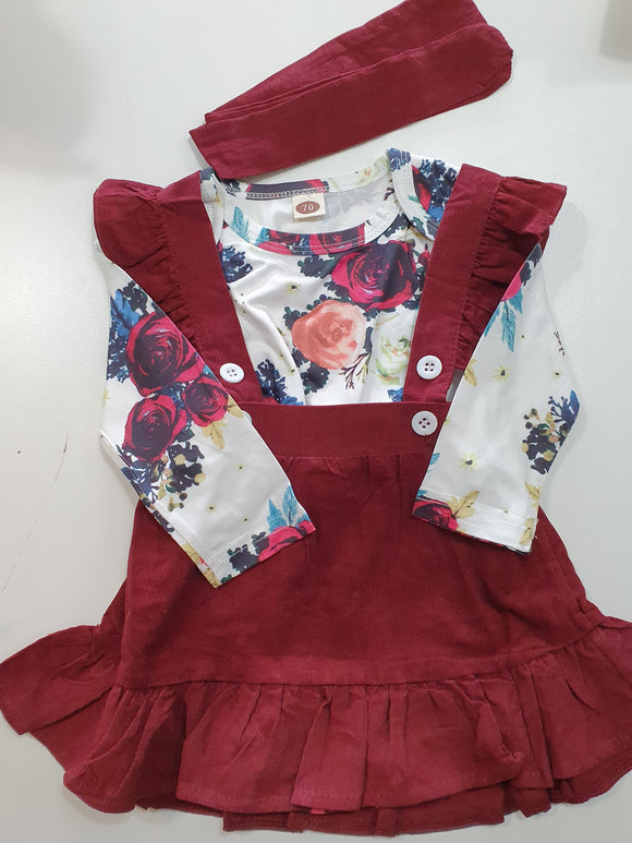 Floral Romper and Suspender Skirt Set