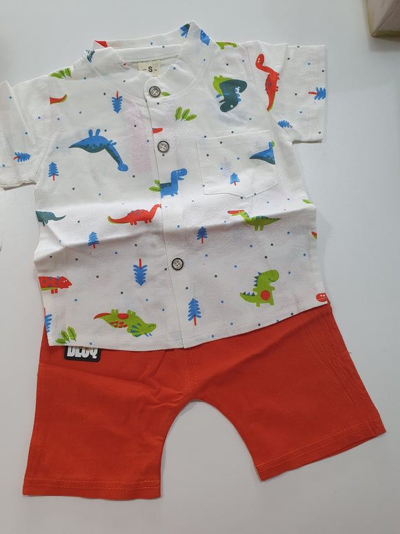 Dinosaur Print Shirt and Shorts Set