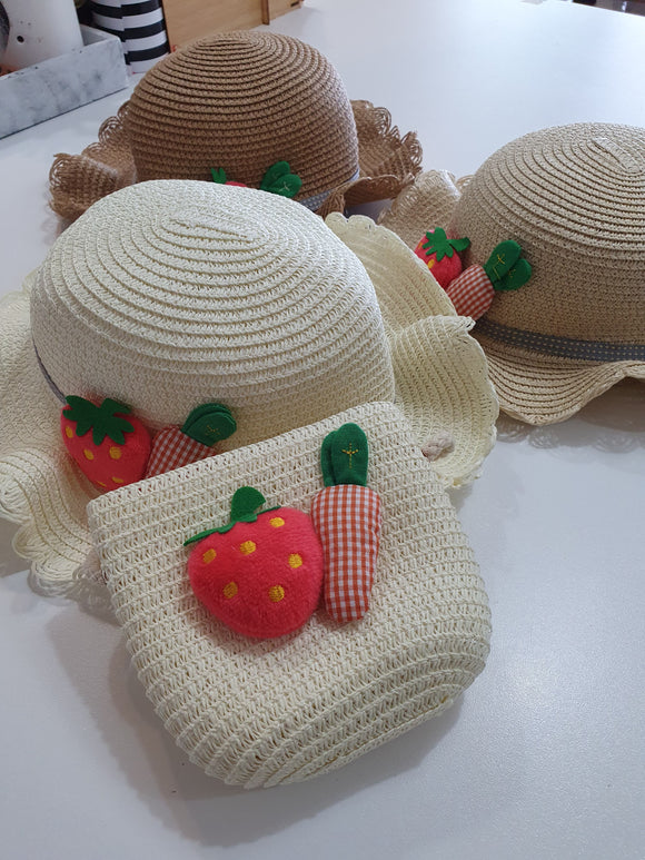 Girls Summer Straw Hat and Bag