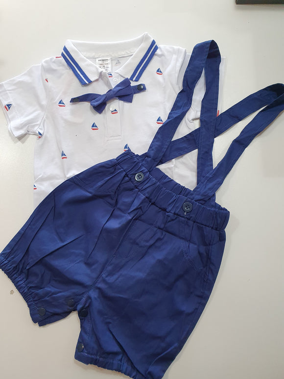 Gentlemanly Romper and Suspender Shorts Set