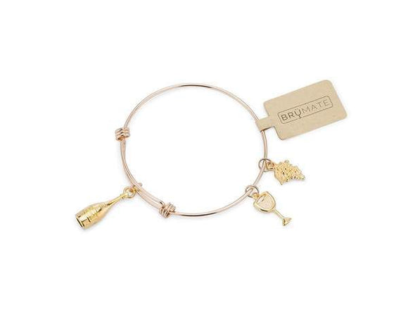 BruMate Wine Charm Bangle - Gold