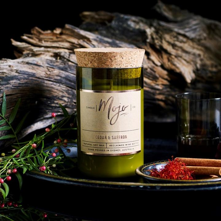 Mojo Wine Bottle Candle - Cedar and Saffron