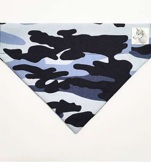 Dog Bandana blue army print