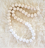 White and natural wooden beaded necklace
