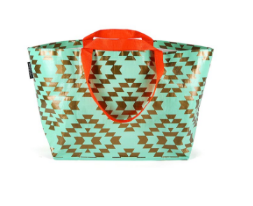 Mint and Gold Aztec Large Tote