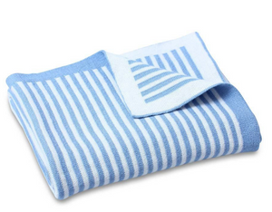 Dlux Blue and White Stripe Baby Blanket