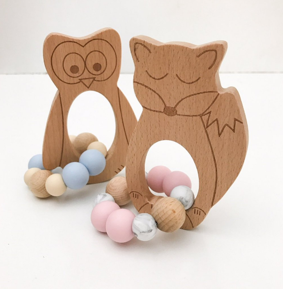 Woodland animal teether