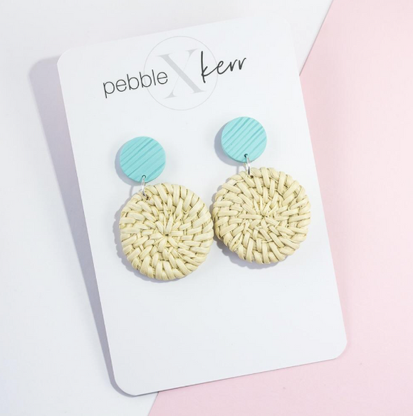 Pebble x Kerr Rattan Earrings - Blue