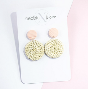 Pebble x Kerr Rattan Earrings - Coral