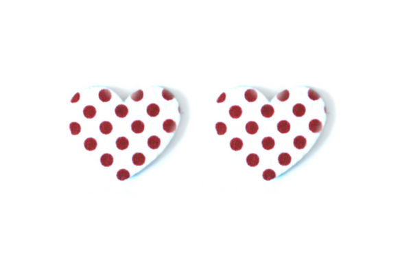 Wooden Polka Dot Heart Earrings