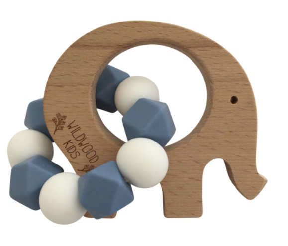 Elephant Teether - Blue and White