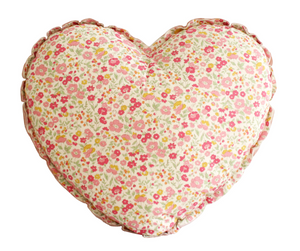 Heart Cushion - Blush and Rose Garden
