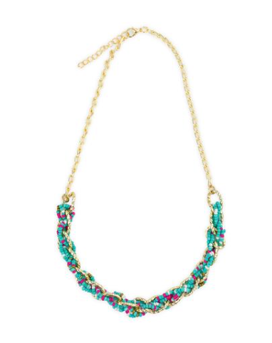 Blue, Pink and White Beaded Necklace