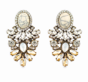 White Diamonte Cluster Earrings