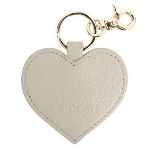 Leather Heart Key Ring - Grey